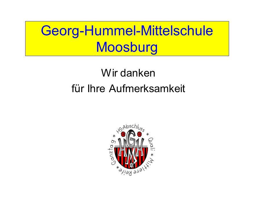 Georg-Hummel-Mittelschule Moosburg Wir danken für Ihre Aufmerksamkeit