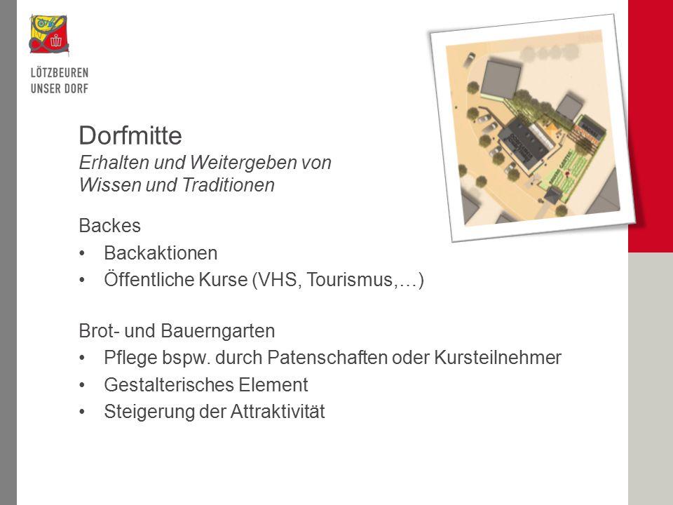 Backes Backaktionen Öffentliche Kurse (VHS, Tourismus,…) Brot- und Bauerngarten Pflege bspw.