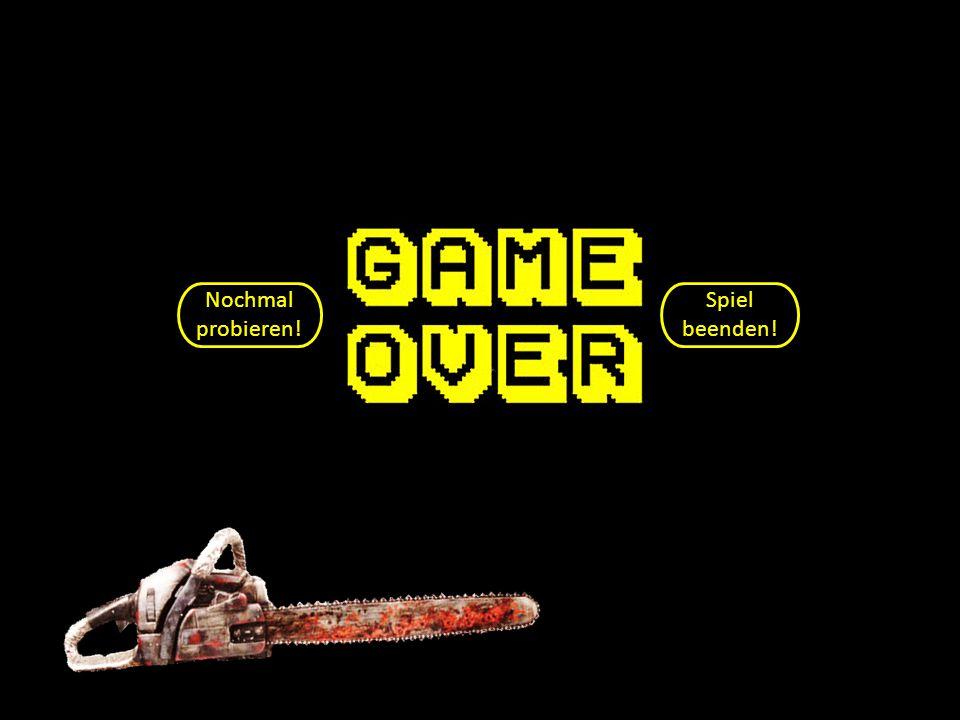 GAME OVER!!! Nochmal probieren! Spiel beenden!