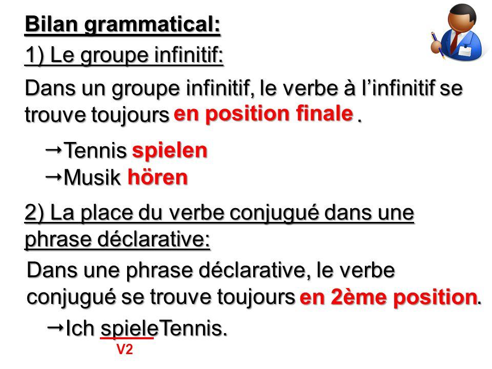 Bilan grammatical: 1) Le groupe infinitif: Dans un groupe infinitif, le verbe à l'infinitif se trouve toujours. en position finale  Tennis spielen 