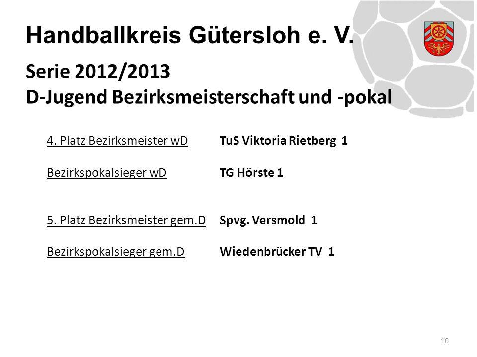 Handballkreis Gütersloh e. V. 4. Platz Bezirksmeister wDTuS Viktoria Rietberg 1 Bezirkspokalsieger wDTG Hörste 1 5. Platz Bezirksmeister gem.DSpvg. Ve