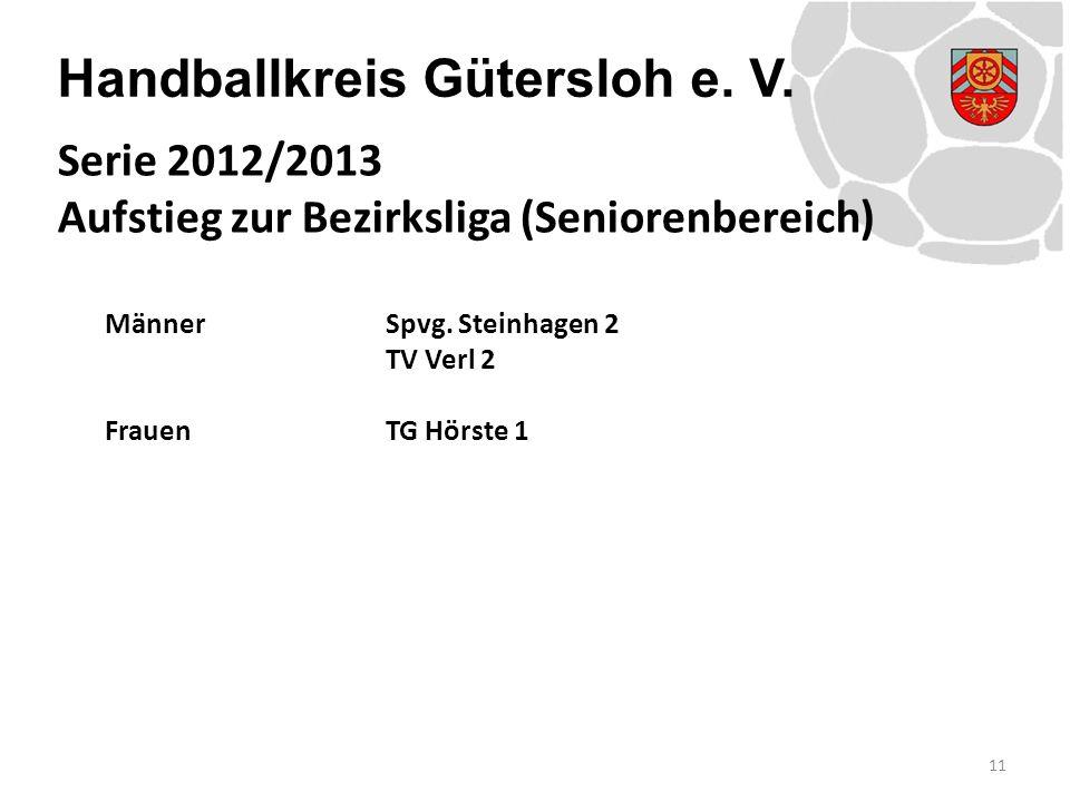 Handballkreis Gütersloh e. V. MännerSpvg. Steinhagen 2 TV Verl 2 FrauenTG Hörste 1 11 Serie 2012/2013 Aufstieg zur Bezirksliga (Seniorenbereich)