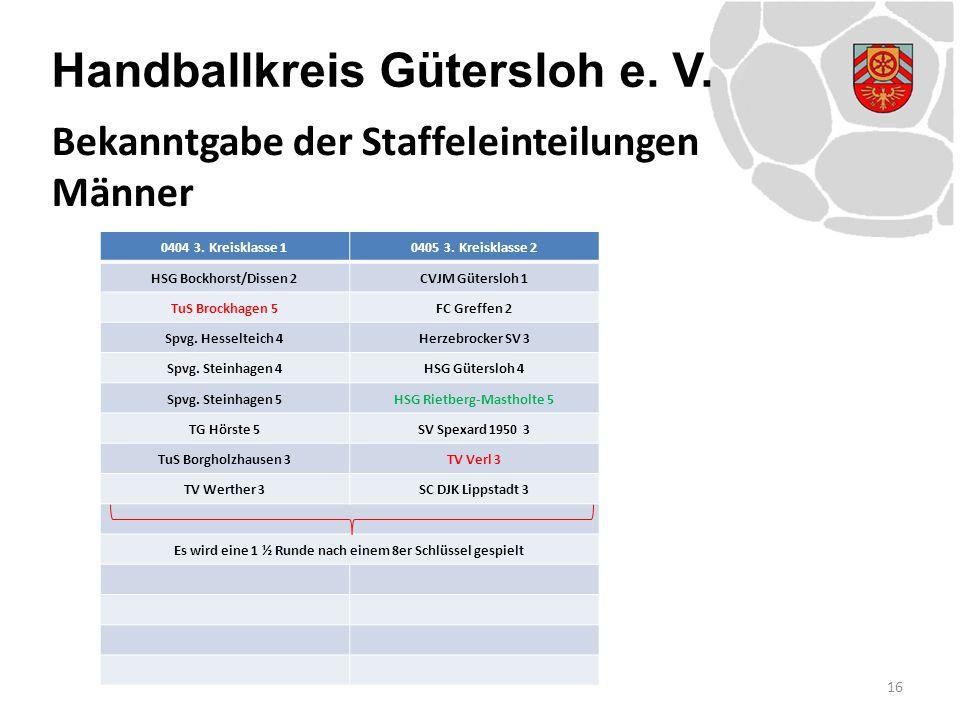 Handballkreis Gütersloh e. V. 0404 3. Kreisklasse 10405 3. Kreisklasse 2 HSG Bockhorst/Dissen 2CVJM Gütersloh 1 TuS Brockhagen 5FC Greffen 2 Spvg. Hes