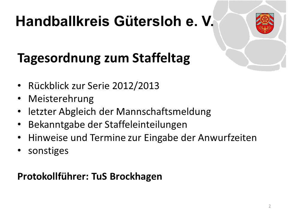 Handballkreis Gütersloh e. V. Rückblick zur Serie 2012/2013 Meisterehrung letzter Abgleich der Mannschaftsmeldung Bekanntgabe der Staffeleinteilungen