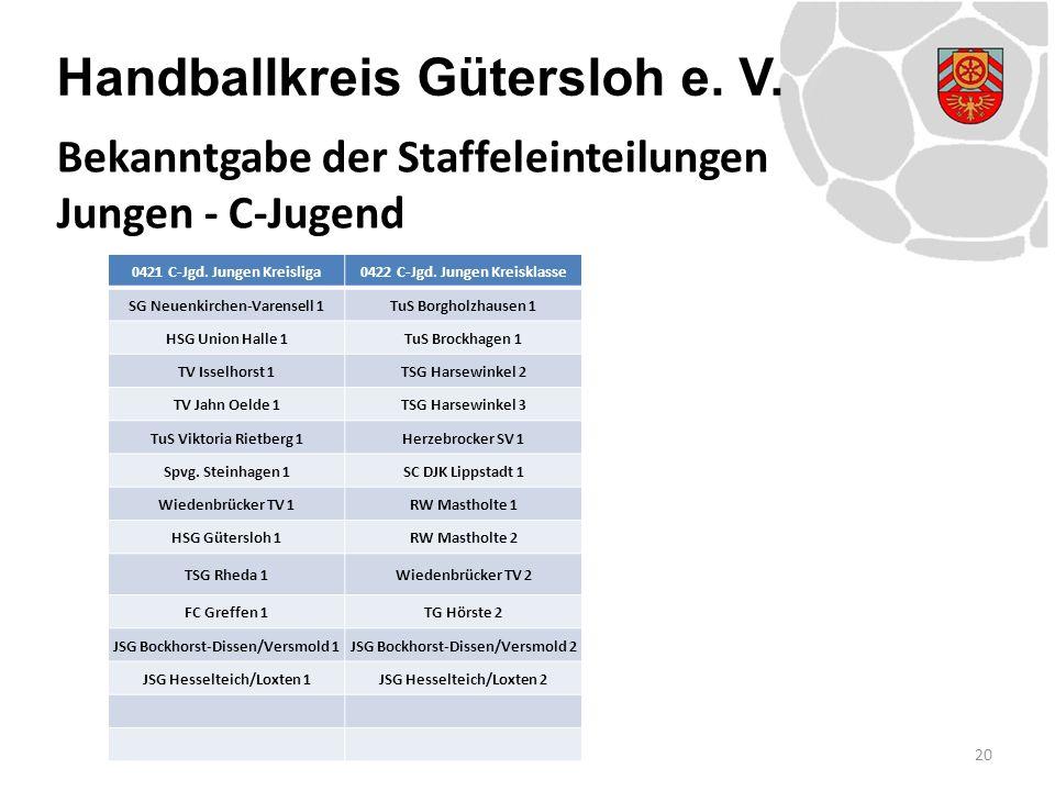 Handballkreis Gütersloh e. V. 20 Bekanntgabe der Staffeleinteilungen Jungen - C-Jugend 0421 C-Jgd. Jungen Kreisliga0422 C-Jgd. Jungen Kreisklasse SG N