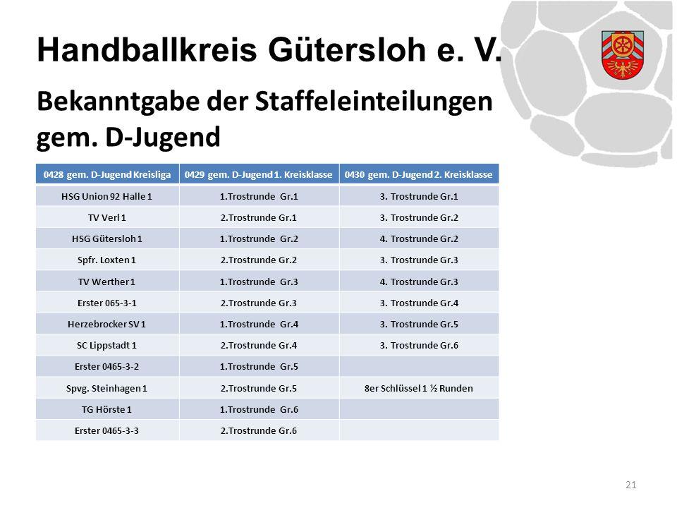 Handballkreis Gütersloh e. V. 21 Bekanntgabe der Staffeleinteilungen gem. D-Jugend 0428 gem. D-Jugend Kreisliga0429 gem. D-Jugend 1. Kreisklasse0430 g