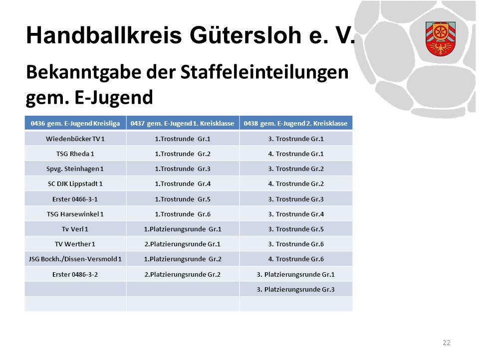 Handballkreis Gütersloh e. V. 22 Bekanntgabe der Staffeleinteilungen gem. E-Jugend 0436 gem. E-Jugend Kreisliga0437 gem. E-Jugend 1. Kreisklasse0438 g