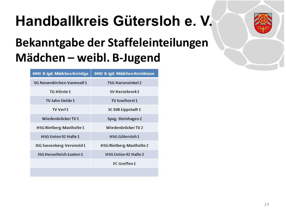 Handballkreis Gütersloh e. V. 0441 B-Jgd. Mädchen Kreisliga0442 B-Jgd. Mädchen Kreisklasse SG Neuenkirchen-Varensell 1TSG Harsewinkel 2 TG Hörste 1SV