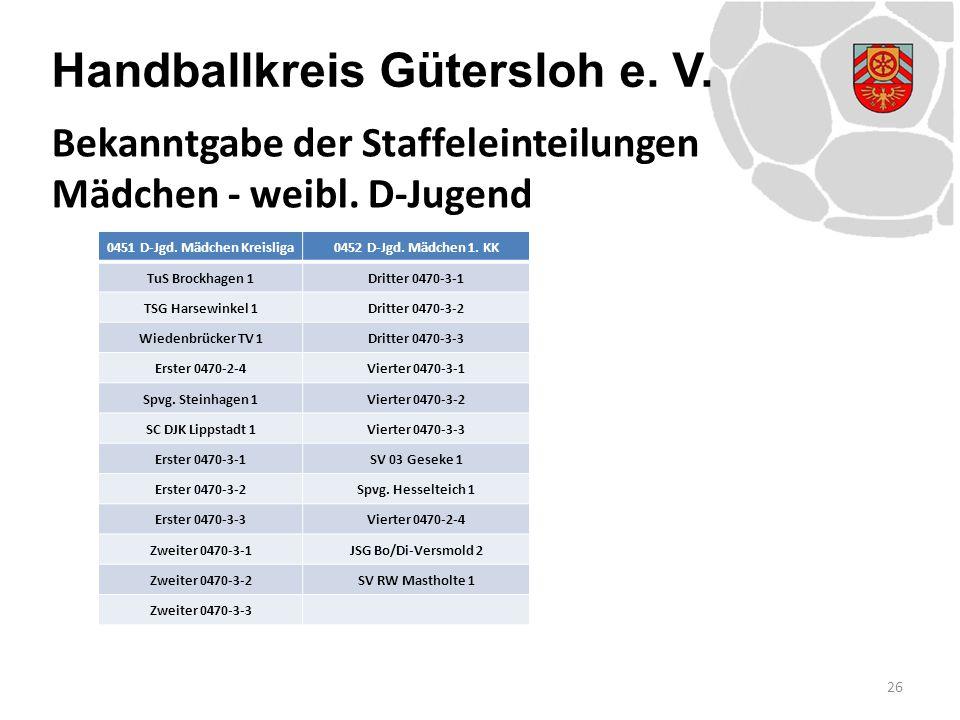 Handballkreis Gütersloh e. V. 26 Bekanntgabe der Staffeleinteilungen Mädchen - weibl. D-Jugend 0451 D-Jgd. Mädchen Kreisliga0452 D-Jgd. Mädchen 1. KK