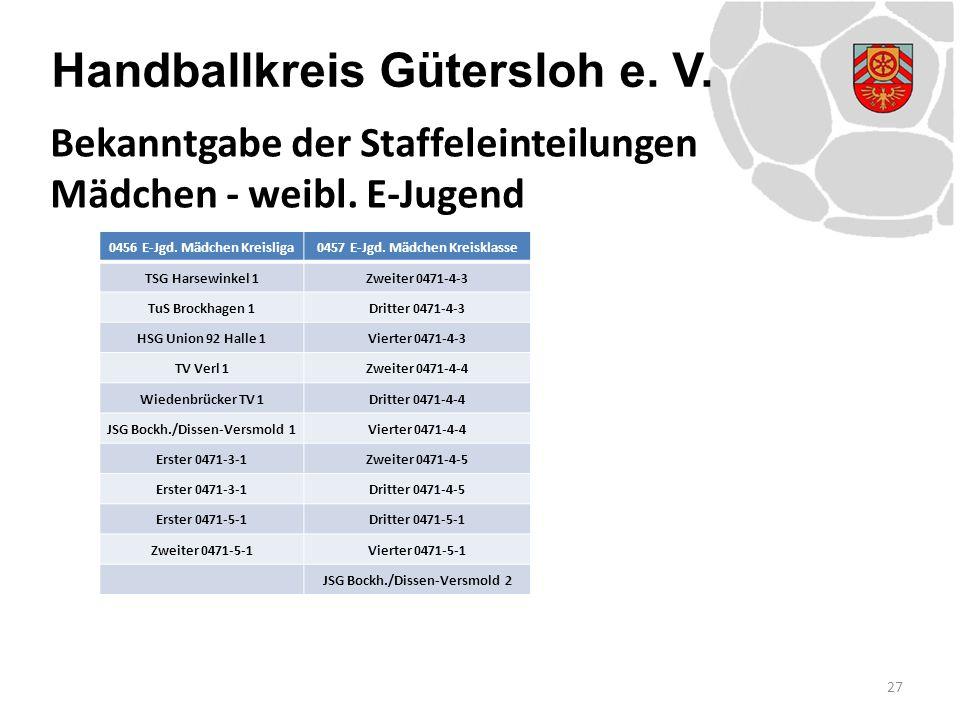 Handballkreis Gütersloh e. V. 27 Bekanntgabe der Staffeleinteilungen Mädchen - weibl. E-Jugend 0456 E-Jgd. Mädchen Kreisliga0457 E-Jgd. Mädchen Kreisk