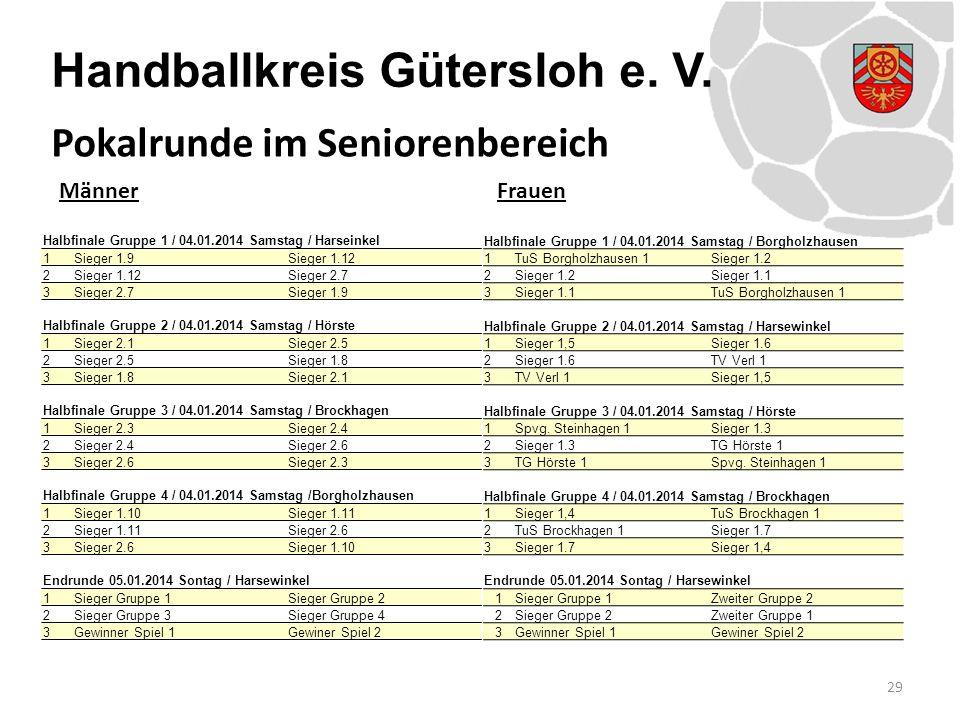 Handballkreis Gütersloh e. V. MännerFrauen 29 Pokalrunde im Seniorenbereich Halbfinale Gruppe 1 / 04.01.2014 Samstag / Harseinkel 1Sieger 1.9 Sieger 1