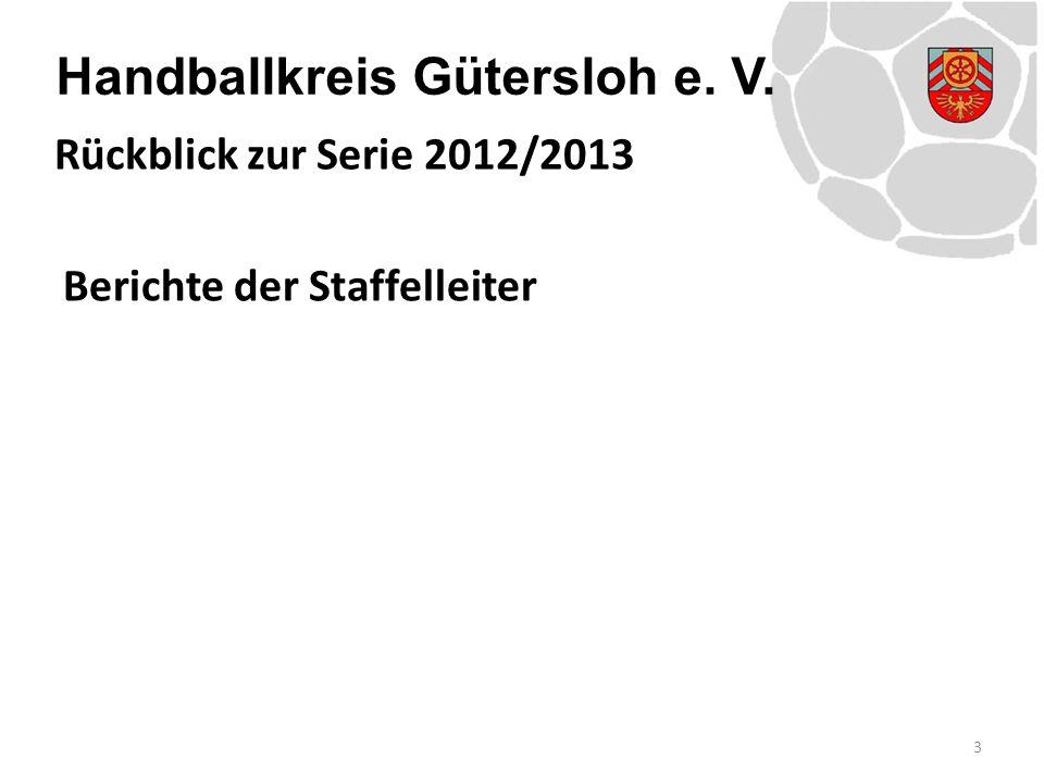 Handballkreis Gütersloh e. V. Berichte der Staffelleiter 3 Rückblick zur Serie 2012/2013