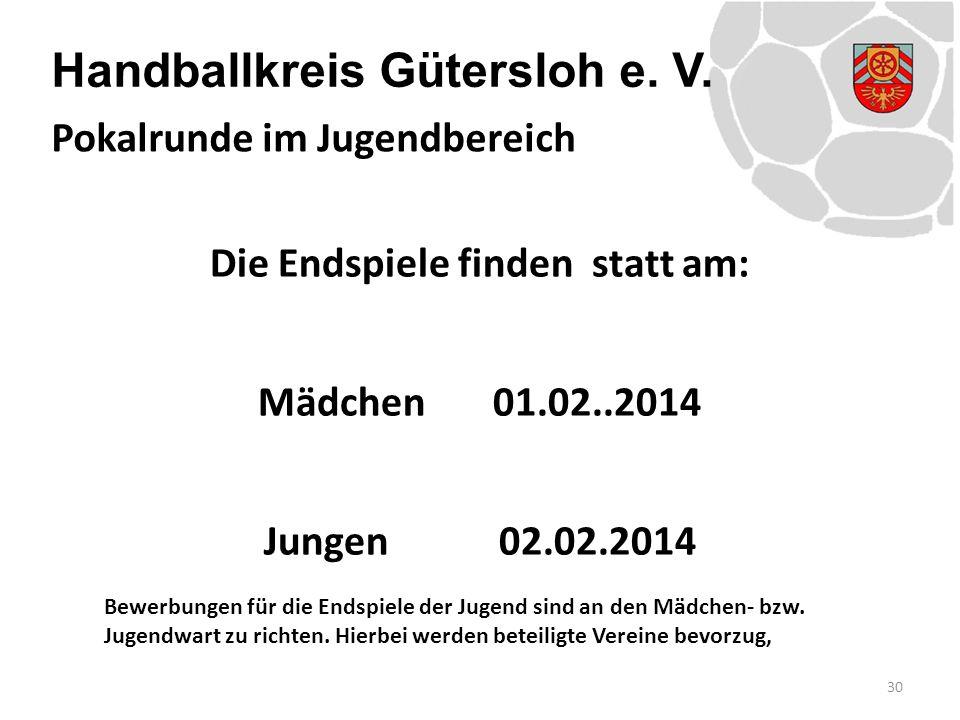 Handballkreis Gütersloh e. V. Die Endspiele finden statt am: Mädchen01.02..2014 Jungen02.02.2014 Bewerbungen für die Endspiele der Jugend sind an den