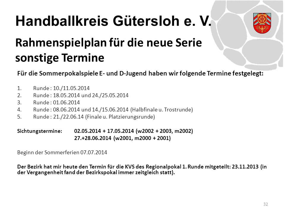 Handballkreis Gütersloh e. V. Für die Sommerpokalspiele E- und D-Jugend haben wir folgende Termine festgelegt: 1.Runde : 10./11.05.2014 2.Runde : 18.0