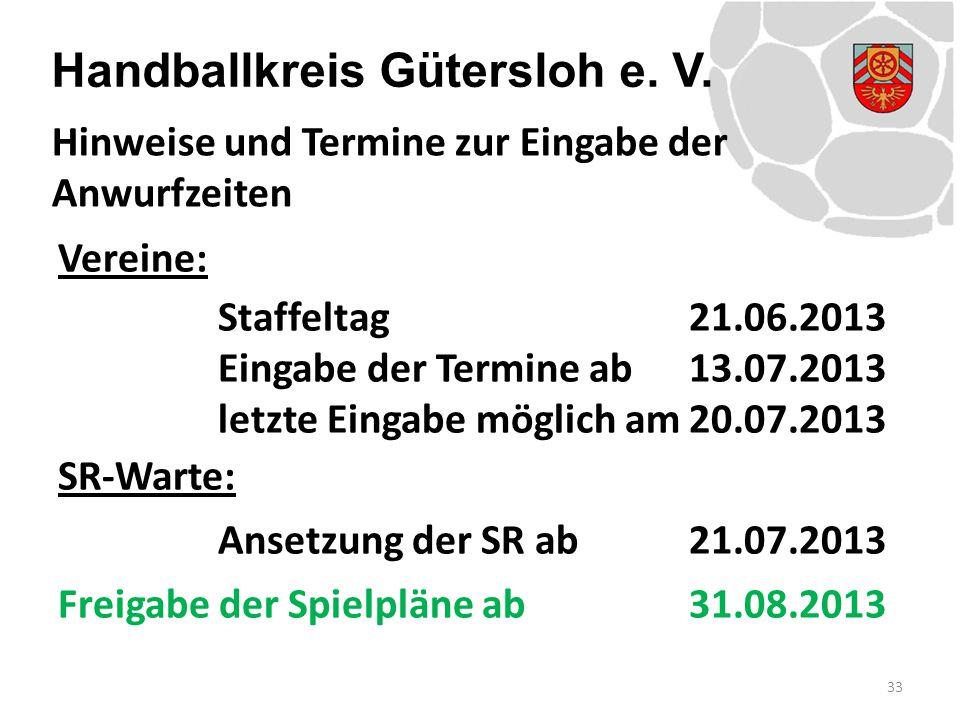 Handballkreis Gütersloh e. V. Vereine: Staffeltag21.06.2013 Eingabe der Termine ab 13.07.2013 letzte Eingabe möglich am20.07.2013 SR-Warte: Ansetzung