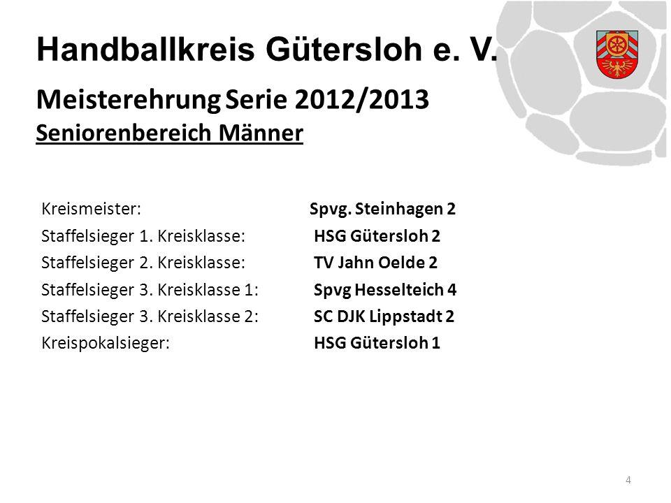 Handballkreis Gütersloh e. V. Kreismeister: Spvg. Steinhagen 2 Staffelsieger 1. Kreisklasse: HSG Gütersloh 2 Staffelsieger 2. Kreisklasse: TV Jahn Oel