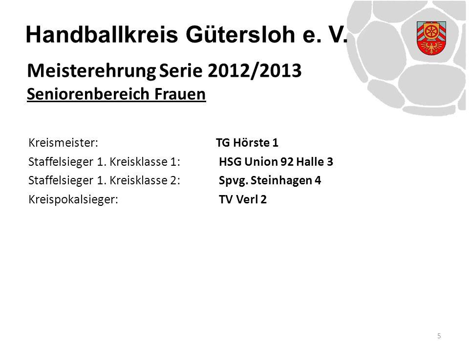 Handballkreis Gütersloh e. V. Kreismeister: TG Hörste 1 Staffelsieger 1.
