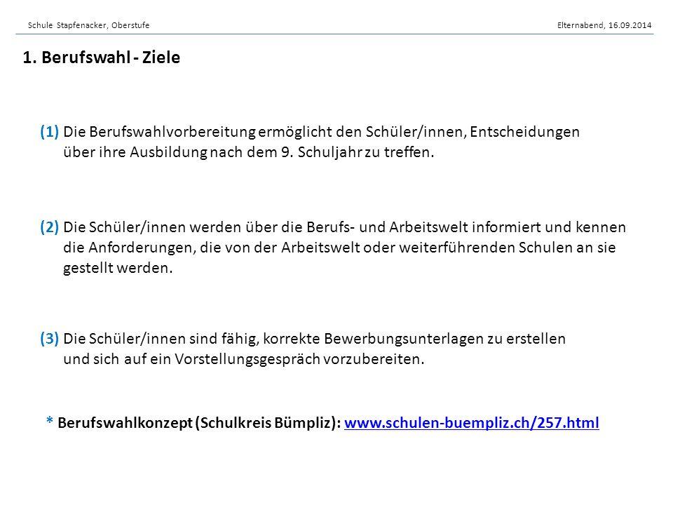 Schule Stapfenacker, OberstufeElternabend, 16.09.2014 (1) Die Berufswahlvorbereitung ermöglicht den Schüler/innen, Entscheidungen über ihre Ausbildung