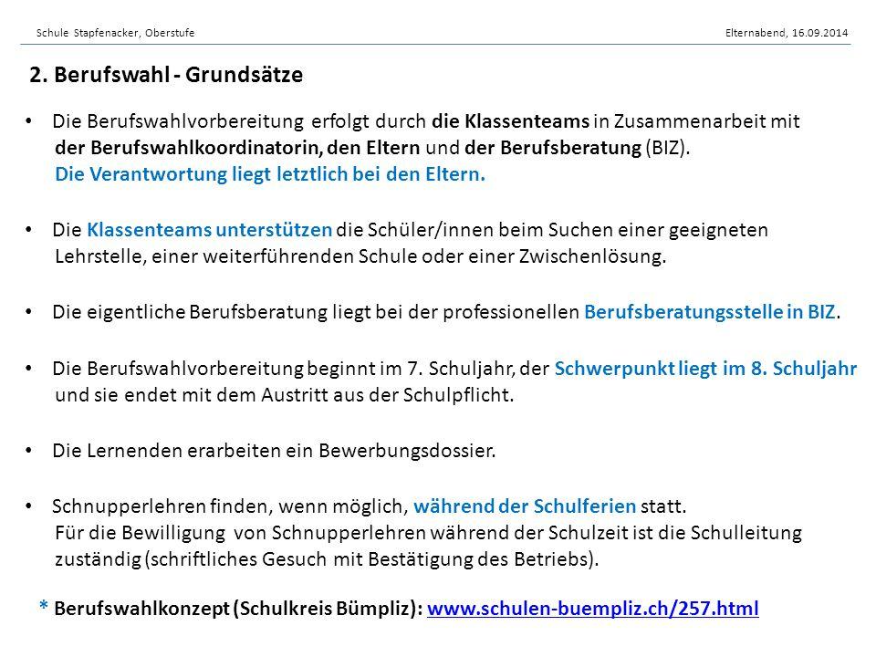 Schule Stapfenacker, OberstufeElternabend, 16.09.2014 Die Berufswahlvorbereitung erfolgt durch die Klassenteams in Zusammenarbeit mit der Berufswahlko