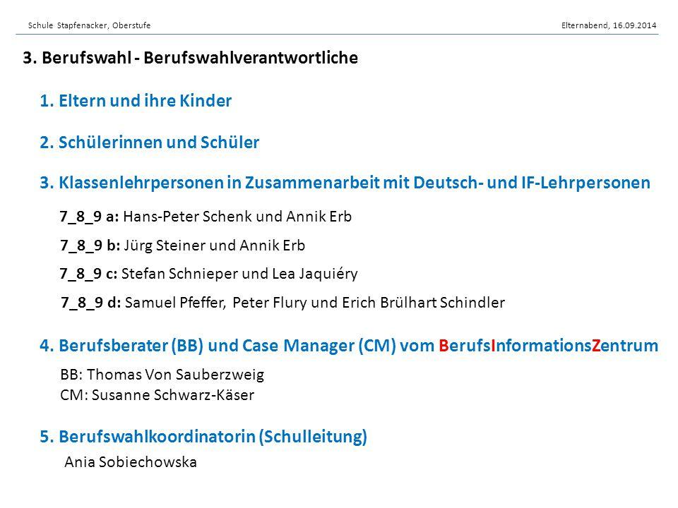 3. Klassenlehrpersonen in Zusammenarbeit mit Deutsch- und IF-Lehrpersonen 5. Berufswahlkoordinatorin (Schulleitung) 4. Berufsberater (BB) und Case Man
