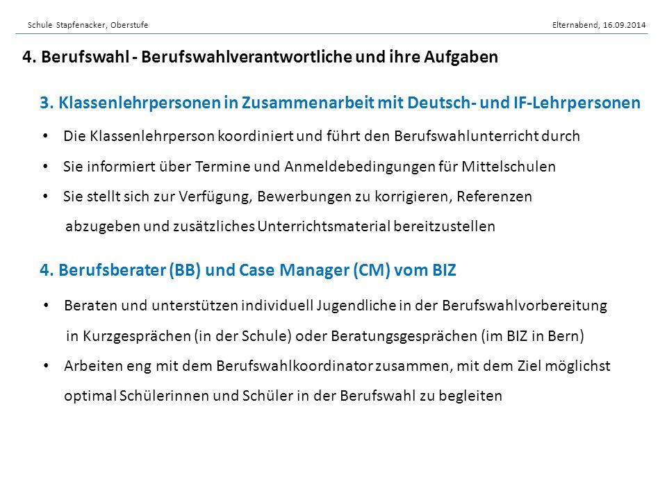 3. Klassenlehrpersonen in Zusammenarbeit mit Deutsch- und IF-Lehrpersonen 4. Berufsberater (BB) und Case Manager (CM) vom BIZ Beraten und unterstützen