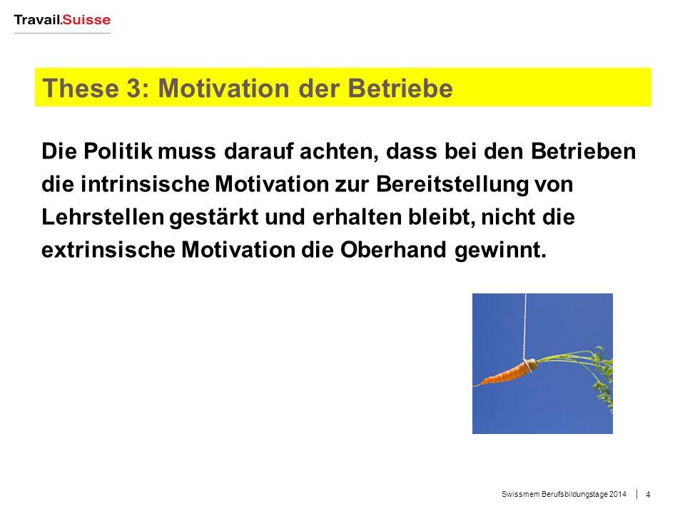 These 3: Motivation der Betriebe Die Politik muss darauf achten, dass bei den Betrieben die intrinsische Motivation zur Bereitstellung von Lehrstellen gestärkt und erhalten bleibt, nicht die extrinsische Motivation die Oberhand gewinnt.