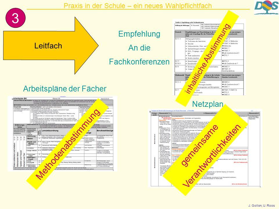 3 Leitfach Arbeitspläne der Fächer Netzplan Methodenabstimmung Empfehlung An die Fachkonferenzen Praxis in der Schule – ein neues Wahlpflichtfach gemeinsame Verantwortlichkeiten inhaltliche Abstimmung J.