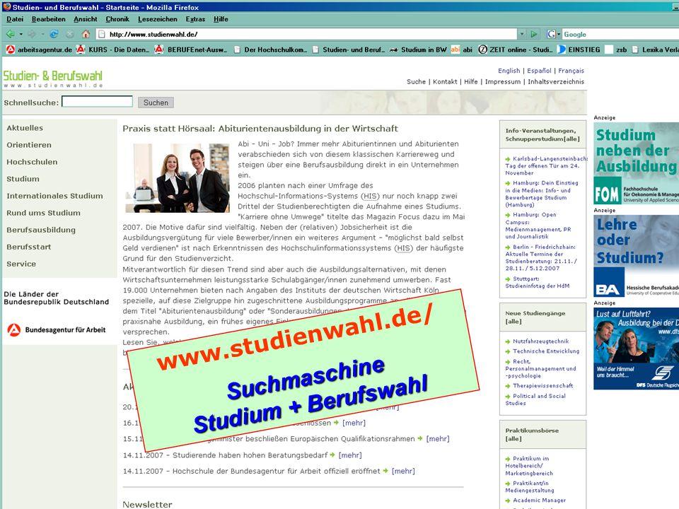 www.studienwahl.de/Suchmaschine Studium + Berufswahl