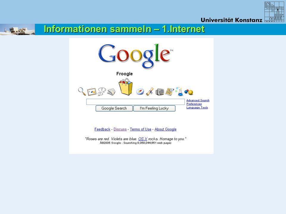 Informationen sammeln – 1.Internet