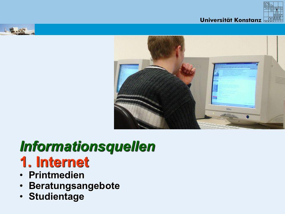 Informationsquellen 1. Internet Printmedien Printmedien Beratungsangebote Beratungsangebote Studientage Studientage