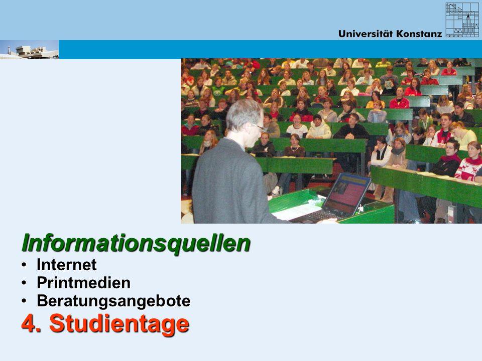 Informationsquellen Internet Internet Printmedien Printmedien Beratungsangebote Beratungsangebote 4. Studientage