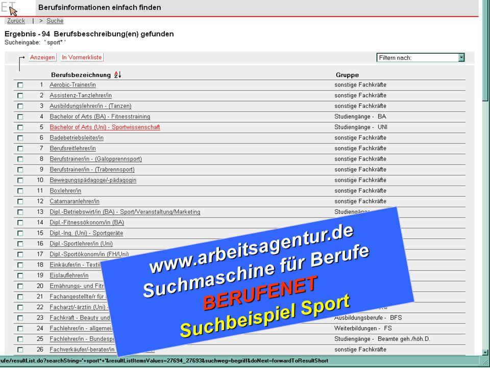 www.arbeitsagentur.de Suchmaschine für Berufe BERUFENET Suchbeispiel Sport