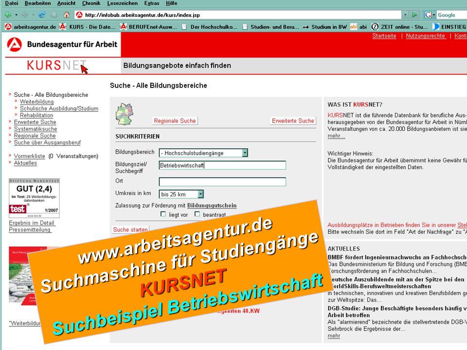 www.arbeitsagentur.de Suchmaschine für Studiengänge KURSNET Suchbeispiel Betriebswirtschaft
