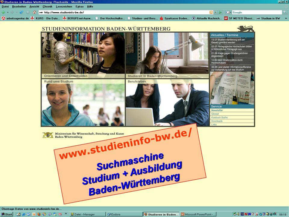 www.studieninfo-bw.de/Suchmaschine Studium + Ausbildung Baden-Württemberg