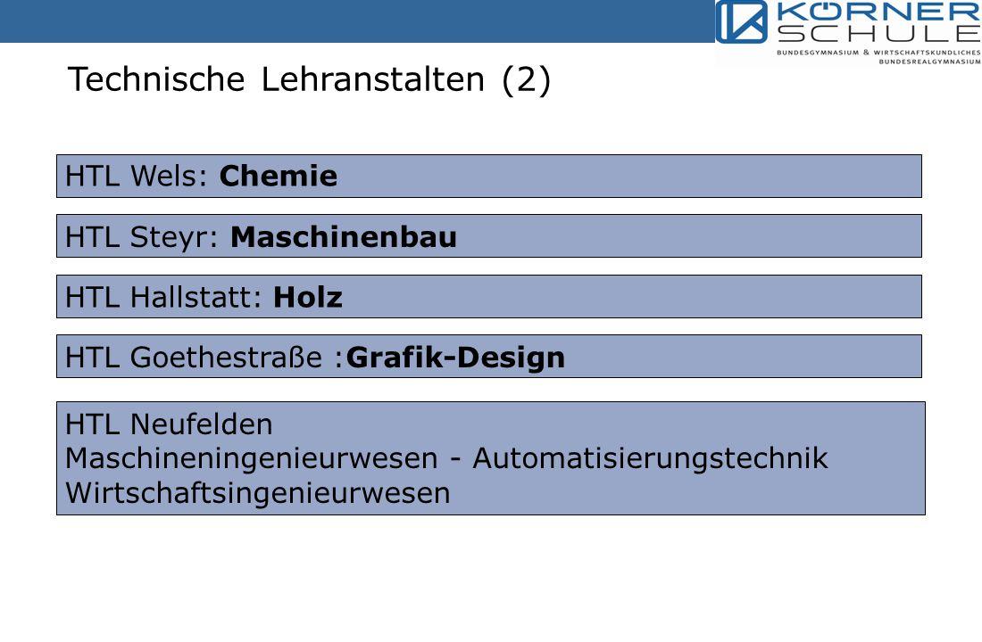 Technische Lehranstalten (2) HTL Wels: Chemie HTL Steyr: Maschinenbau HTL Hallstatt: Holz HTL Goethestraße :Grafik-Design HTL Neufelden Maschineningenieurwesen - Automatisierungstechnik Wirtschaftsingenieurwesen