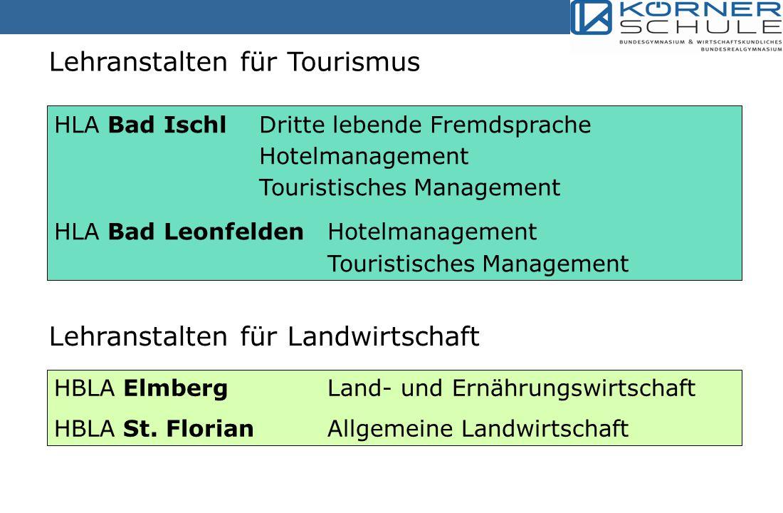 Lehranstalten für Tourismus HLA Bad IschlDritte lebende Fremdsprache Hotelmanagement Touristisches Management HLA Bad Leonfelden Hotelmanagement Touristisches Management Lehranstalten für Landwirtschaft HBLA Elmberg Land- und Ernährungswirtschaft HBLA St.