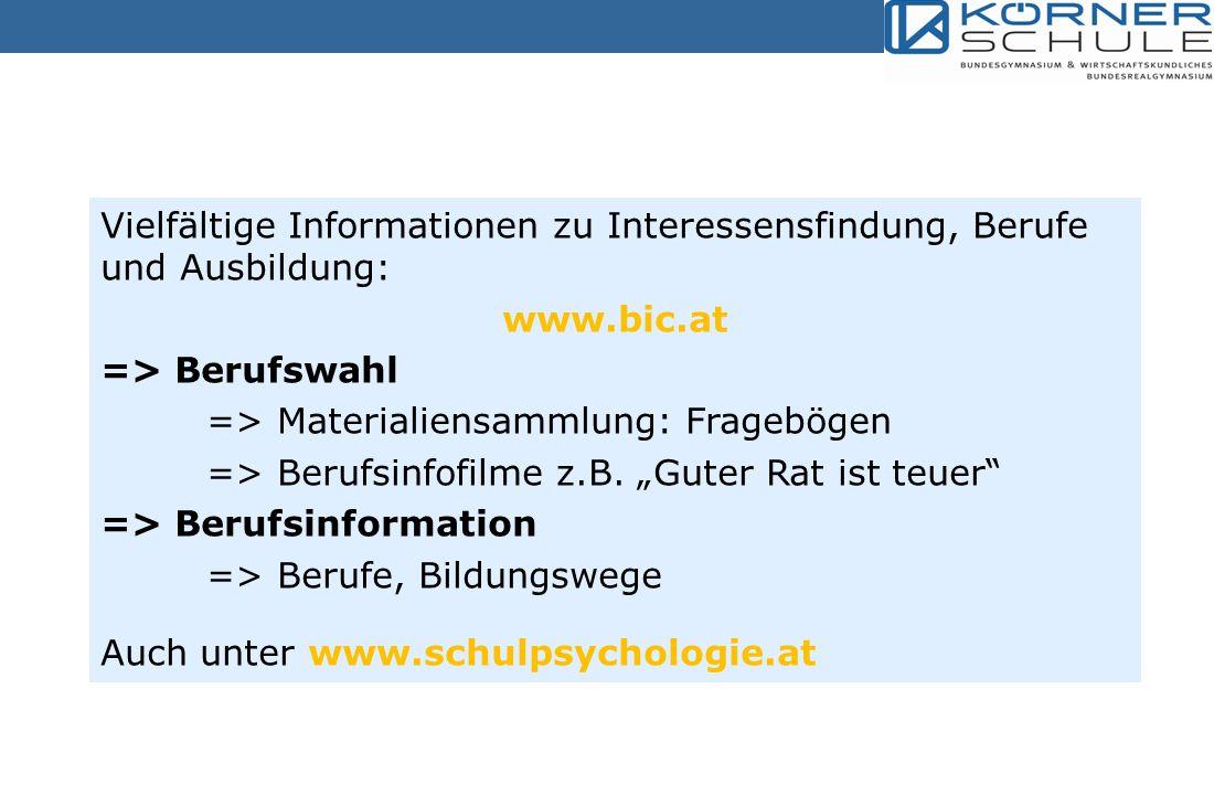 Vielfältige Informationen zu Interessensfindung, Berufe und Ausbildung: www.bic.at => Berufswahl => Materialiensammlung: Fragebögen => Berufsinfofilme z.B.