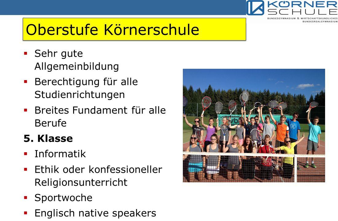 Oberstufe Körnerschule  Sehr gute Allgemeinbildung  Berechtigung für alle Studienrichtungen  Breites Fundament für alle Berufe 5.