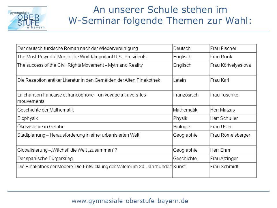 www.gymnasiale-oberstufe-bayern.de An unserer Schule stehen im W-Seminar folgende Themen zur Wahl: Der deutsch-türkische Roman nach der Wiedervereinig