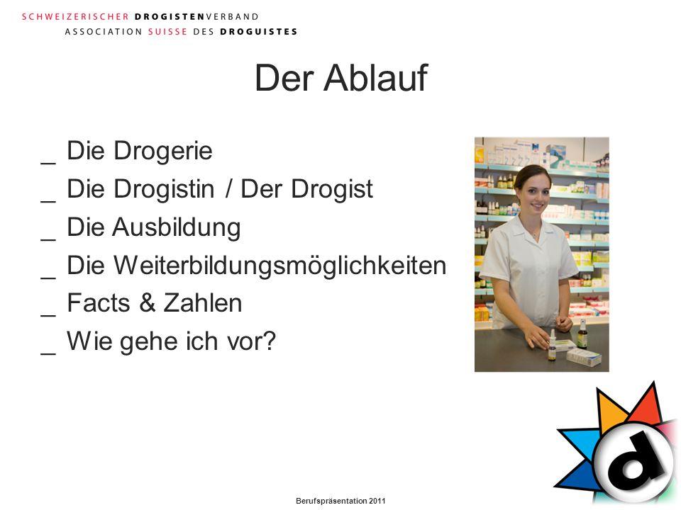 Berufspräsentation 2011 Der Ablauf _Die Drogerie _Die Drogistin / Der Drogist _Die Ausbildung _Die Weiterbildungsmöglichkeiten _Facts & Zahlen _Wie ge