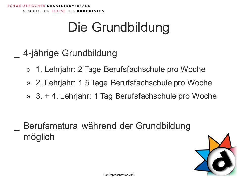Berufspräsentation 2011 Die Grundbildung _4-jährige Grundbildung » 1. Lehrjahr: 2 Tage Berufsfachschule pro Woche » 2. Lehrjahr: 1.5 Tage Berufsfachsc