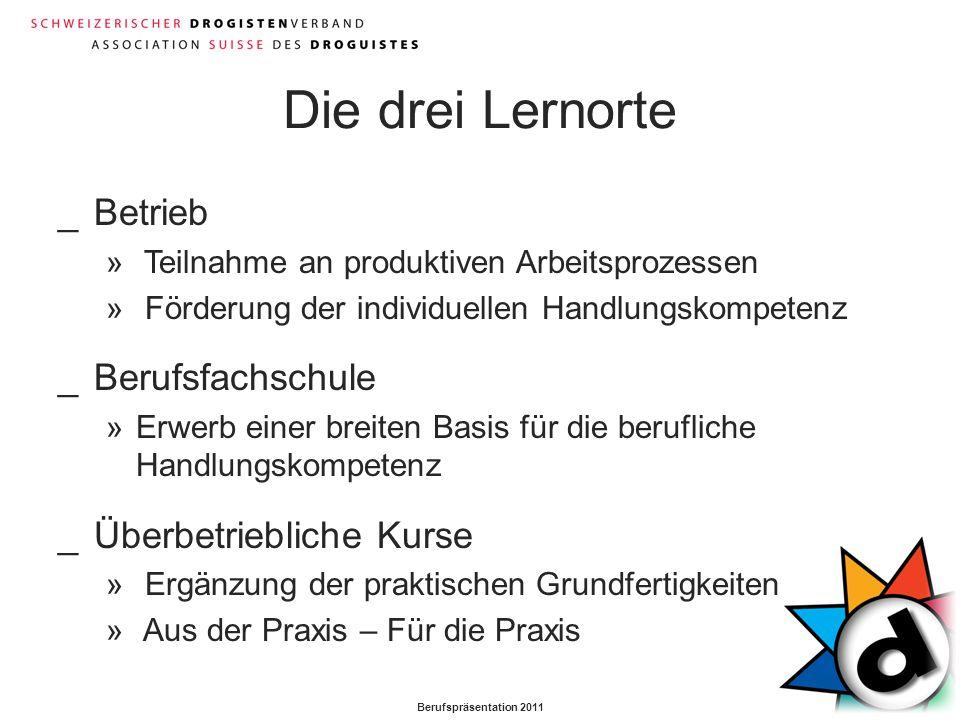 Berufspräsentation 2011 Die drei Lernorte _Betrieb » Teilnahme an produktiven Arbeitsprozessen » Förderung der individuellen Handlungskompetenz _Beruf