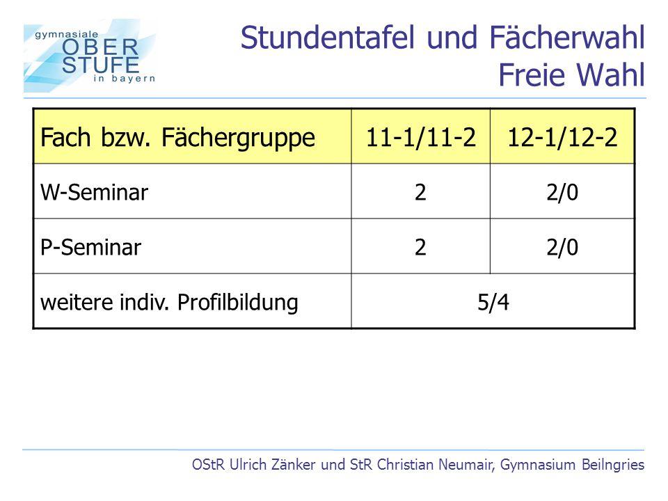 Stundentafel und Fächerwahl Freie Wahl OStR Ulrich Zänker und StR Christian Neumair, Gymnasium Beilngries Fach bzw. Fächergruppe11-1/11-212-1/12-2 W-S
