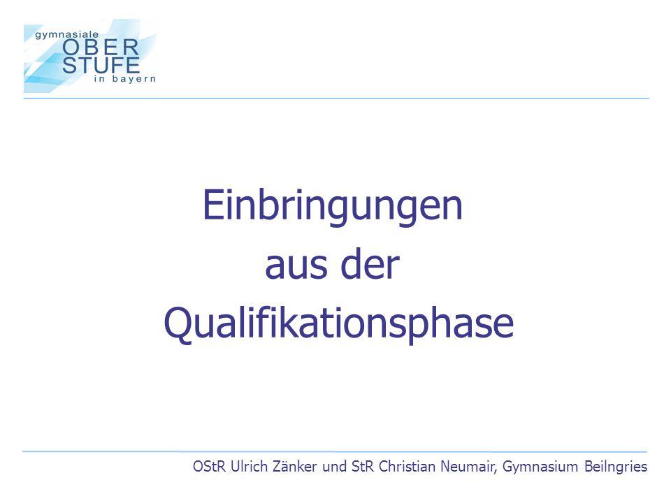 OStR Ulrich Zänker und StR Christian Neumair, Gymnasium Beilngries Einbringungen aus der Qualifikationsphase