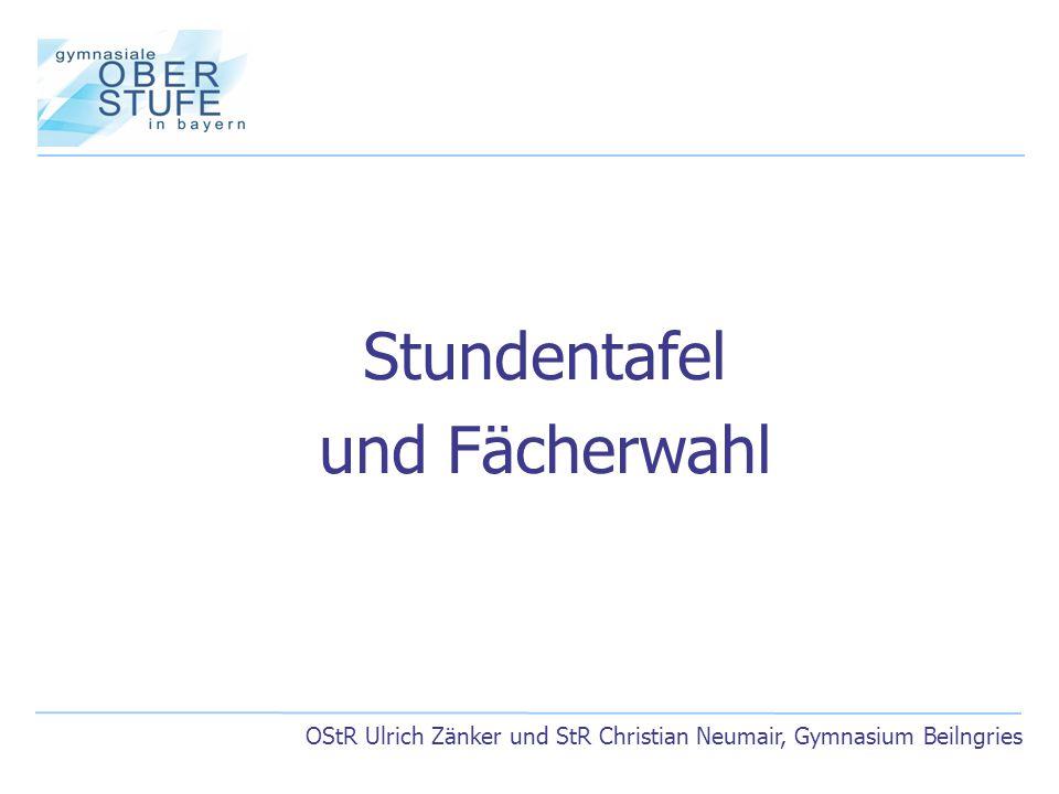 OStR Ulrich Zänker und StR Christian Neumair, Gymnasium Beilngries Stundentafel und Fächerwahl