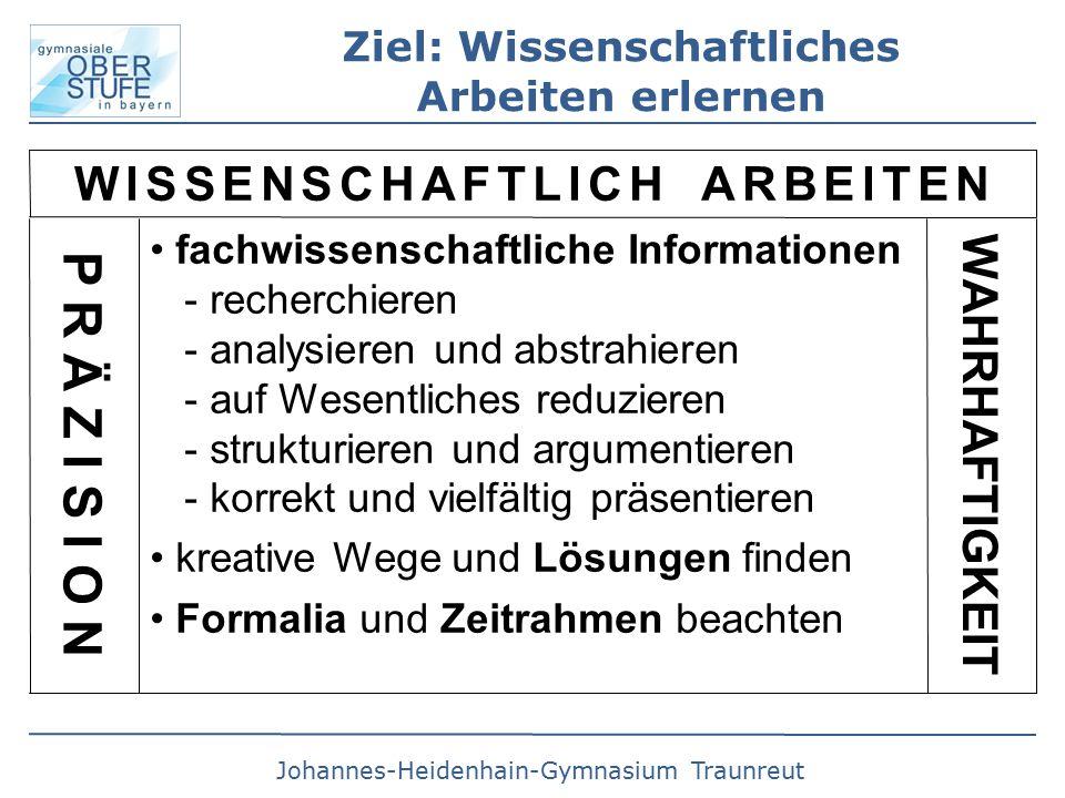 Johannes-Heidenhain-Gymnasium Traunreut Ziel: Wissenschaftliches Arbeiten erlernen W I S S E N S C H A F T L I C H A R B E I T E N fachwissenschaftliche Informationen - recherchieren - analysieren und abstrahieren - auf Wesentliches reduzieren - strukturieren und argumentieren - korrekt und vielfältig präsentieren kreative Wege und Lösungen finden Formalia und Zeitrahmen beachten P R Ä Z I S I O N WAHRHAFTIGKEIT