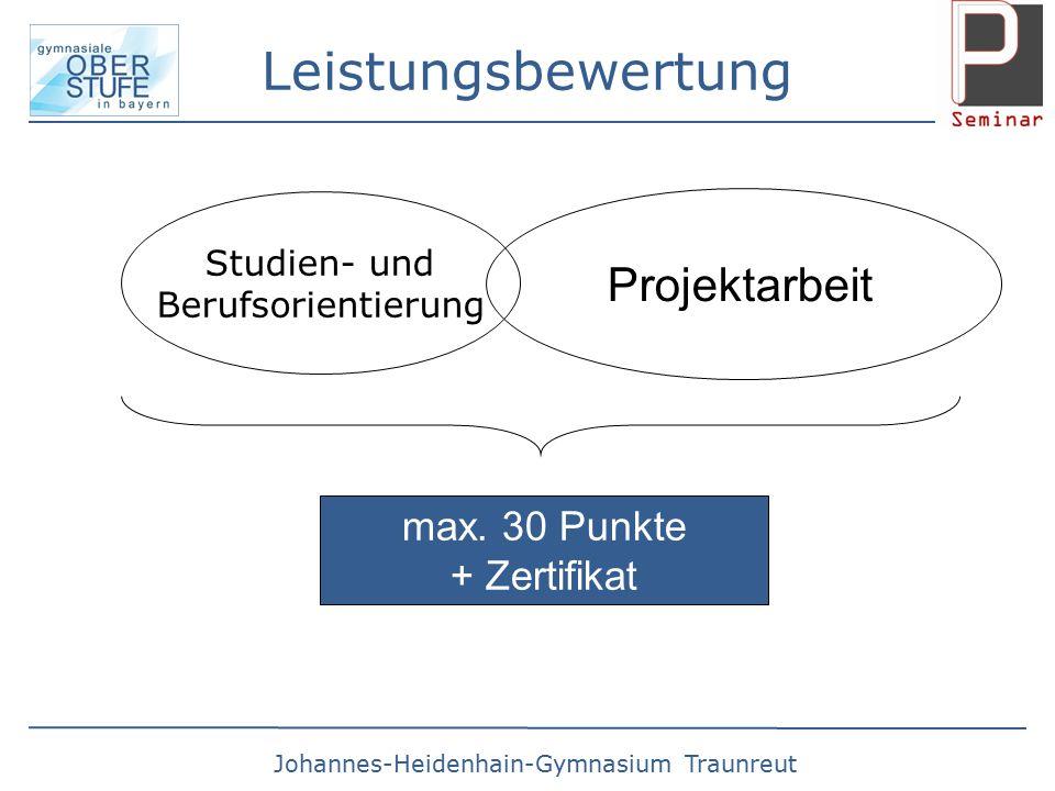 Johannes-Heidenhain-Gymnasium Traunreut Leistungsbewertung Studien- und Berufsorientierung Projektarbeit max.