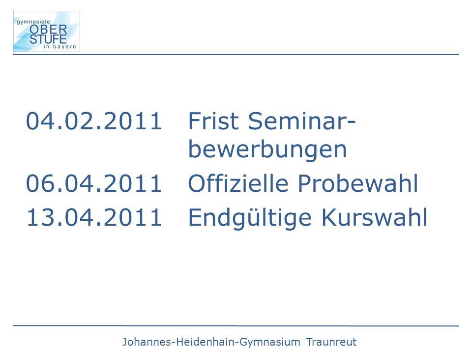 Johannes-Heidenhain-Gymnasium Traunreut 04.02.2011 Frist Seminar- bewerbungen 06.04.2011 Offizielle Probewahl 13.04.2011 Endgültige Kurswahl