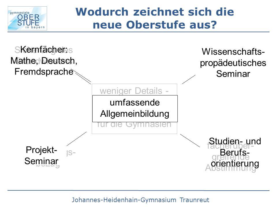 Johannes-Heidenhain-Gymnasium Traunreut Wodurch zeichnet sich die neue Oberstufe aus.