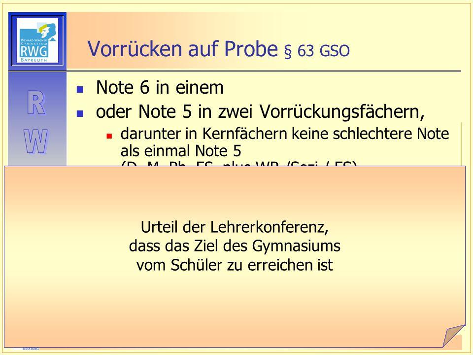 StD Kockler Informationsabend 10. Klassen Vorrücken auf Probe § 63 GSO Note 6 in einem oder Note 5 in zwei Vorrückungsfächern, darunter in Kernfächern